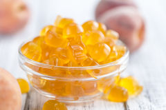 Gummy Peaches (close-up shot) Royalty Free Stock Images