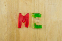 Gummy Words Me Stock Photography