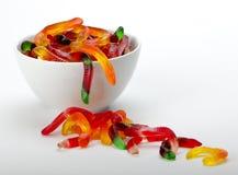Gummy Worms. In white bowl Stock Photo