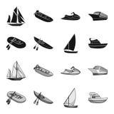 Gumowa łódź rybacka, kajak z wiosłami, połowu skuner, motorowy jacht Statki i woda transportu ustalona kolekcja royalty ilustracja