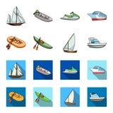 Gumowa łódź rybacka, kajak z wiosłami, połowu skuner, motorowy jacht Statki i woda transportu ustalona kolekcja ilustracji