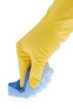 Gumowa rękawiczka i błękitna gąbka fotografia royalty free