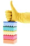 Gumowa rękawiczka i gąbki fotografia stock