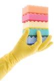 Gumowa rękawiczka i gąbki zdjęcie stock