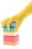 Gumowa rękawiczka i gąbki obrazy stock