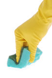 Gumowa rękawiczka i zieleni gąbka fotografia stock