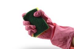 Gumowa rękawiczka z gąbką obrazy stock