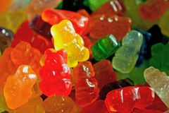 Gumowaty niedźwiadkowy cukierek, sprzedaż, tło obraz stock