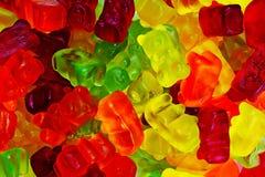 Gumowaty niedźwiadkowy tło Gumowaci niedźwiedzie jako tekstura Dziąsło niedźwiadkowego cukierku kolorowy wzór Zdjęcia Royalty Free