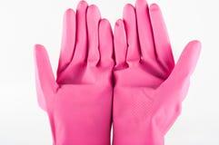 Gumowe rękawiczki z gąbką Zdjęcia Stock