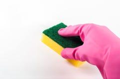 Gumowe rękawiczki z gąbką Zdjęcie Royalty Free