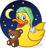 Gumowy kaczki drzemki czasu postać z kreskówki Obrazy Stock