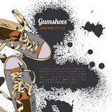 Gumshoes sketch grunge Stock Photos