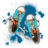 Gumshoes sketch grunge. Colored funky gumshoes fashion sneakers grunge style with ink splash background vector illustration Stock Photography