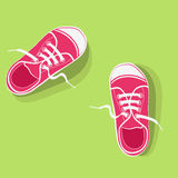 Gumshoes for sport. A pair of red gumshoes on light green background Stock Image