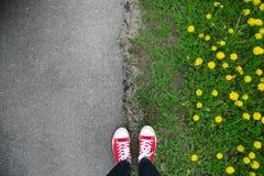 Gumshoes on urban grunge background of asphalt. Conceptual image Stock Photos
