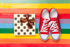 Gumshoes with white shoelaces Royalty Free Stock Photo