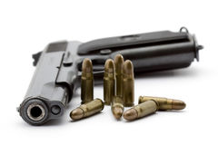 Gun. And bullets studio isolated Stock Image