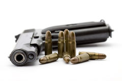 Gun. And bullets studio isolated Royalty Free Stock Images