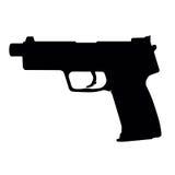 Gun. Black hand gun silhouette, isolated royalty free illustration