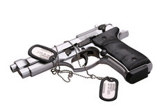 GUN. Automatic gun, аrmy counter isolated on white background Stock Photography