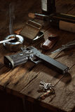 Gun. A set up shoot of gun and knife Royalty Free Stock Images