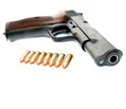 Gun. Weapon - Gun isolated on white background Stock Image