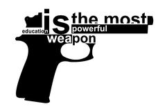 Gun. Education is the most powerful weapon Stock Images
