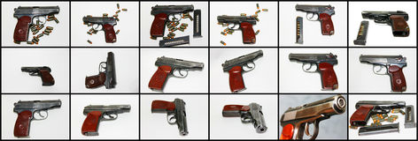 Gun. The Small collection photography gun with patrons and cartridge clip to him Stock Images