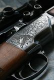Gun. Close - up of double - barrelled gun Royalty Free Stock Photos