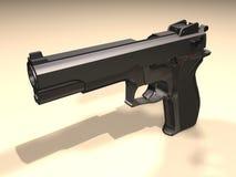 Gun. Computer image, black gun 3D and shadows Stock Image