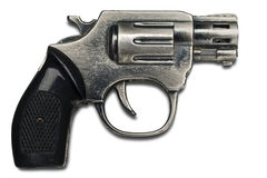Gun. A metal toy gun on white with clipping path Stock Image