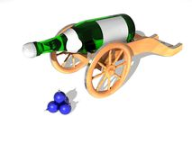 Gun. Bottle of champagne on a support stylized under an ancient gun Vector Illustration