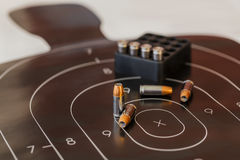 Gun Ammunition And Target Stock Image