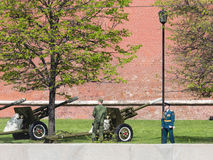 Gun, announcing the beginning of the military parade in Moscow Royalty Free Stock Photo