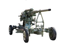 Gun. Anti-aircraft gun on wheels isolated on white background Stock Photography
