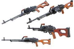 Gun automatic machine set. Gun automatic machine army equipment set. 3D rendering Stock Images
