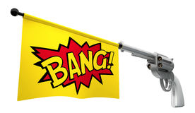 Gun Bang. A gunpointed towards the camera with a flag coming out the barrel that says the word bang on it Stock Photo