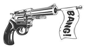 A gun with a bang flag. Vector illustration Royalty Free Stock Photography