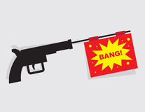 Gun Bang Message. Gun firing message that says bang Royalty Free Stock Photo