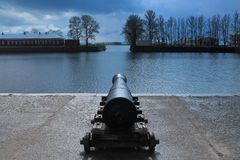 The gun on the Bank of the Italian pond Stock Image