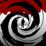 Gun barrel. Armed man seen through a gun barrel Stock Images