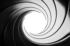 Gun barrel effect - a classic James Bond 007 theme - 3D illustration Stock Photo
