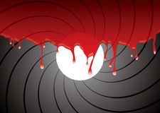 Gun barrel inside blood. Abstract gun barrel inside with blood dribble background Royalty Free Stock Photo