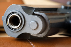 Gun barrel and muzzle. Closeup of the muzzle or end of a gun barrel Royalty Free Stock Photo