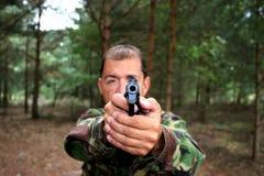 Gun Barrel Point Blank. Looking point blank down the barrel of a gun Royalty Free Stock Photo