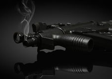 Gun barrel with smoke Stock Photo