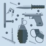 Gun baton bullets handcuffs keys Royalty Free Stock Images