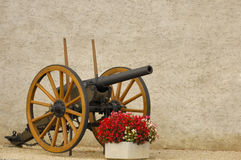 Gun and begonias. An old cannon outside a castle in Switzerland, guarding a tub of begonias Stock Photography