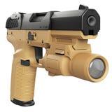 Gun beige military, police Stock Image